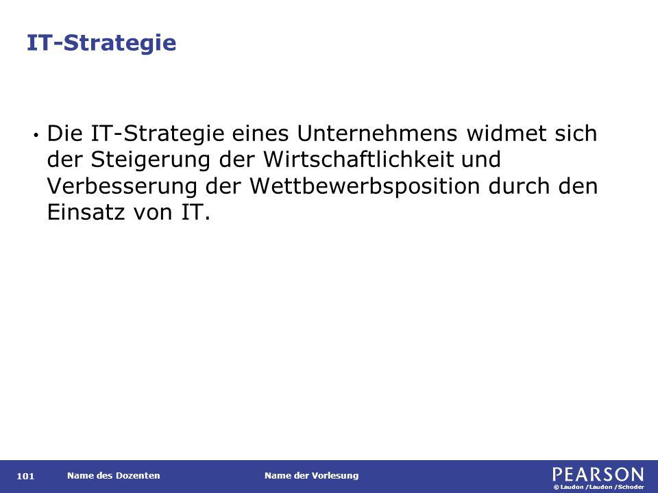© Laudon /Laudon /Schoder Name des DozentenName der Vorlesung IT-Strategie 101 Die IT-Strategie eines Unternehmens widmet sich der Steigerung der Wirt
