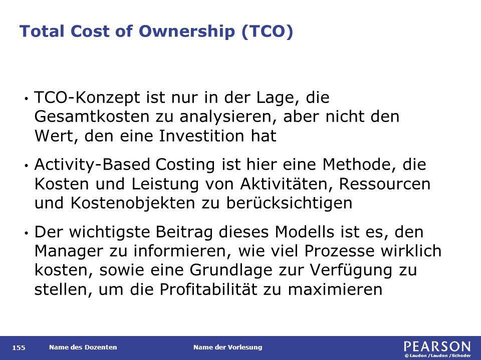 © Laudon /Laudon /Schoder Name des DozentenName der Vorlesung Total Cost of Ownership (TCO) 155 TCO-Konzept ist nur in der Lage, die Gesamtkosten zu a