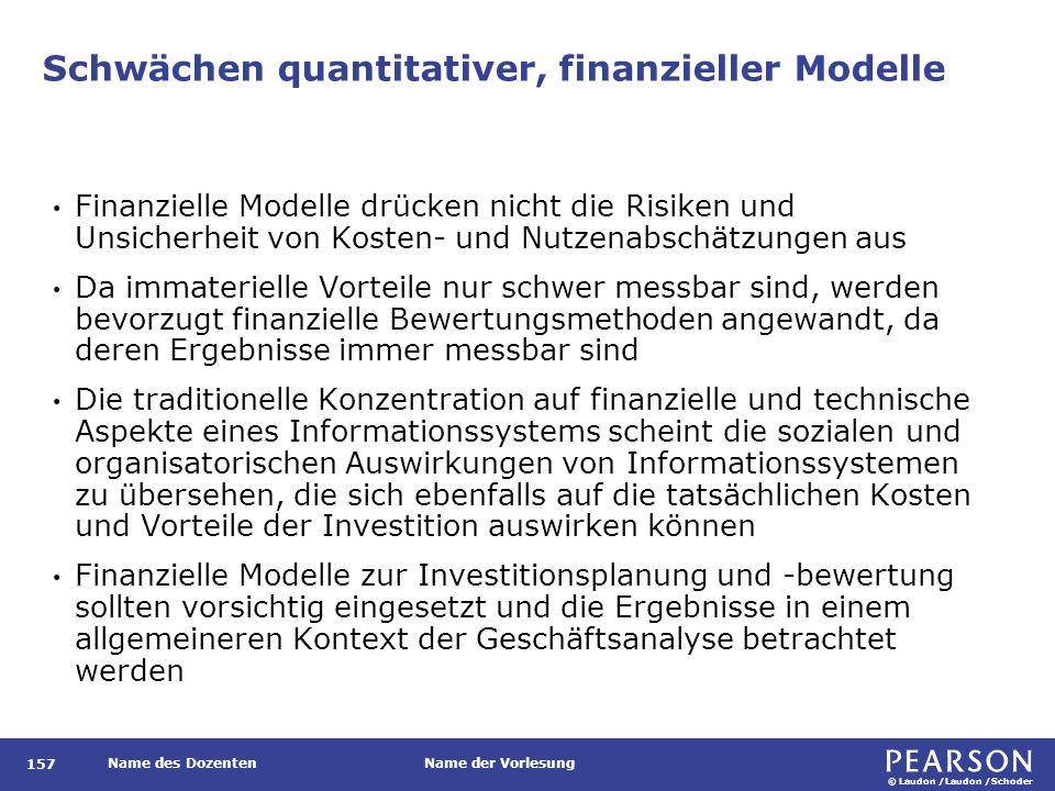© Laudon /Laudon /Schoder Name des DozentenName der Vorlesung Schwächen quantitativer, finanzieller Modelle 157 Finanzielle Modelle drücken nicht die