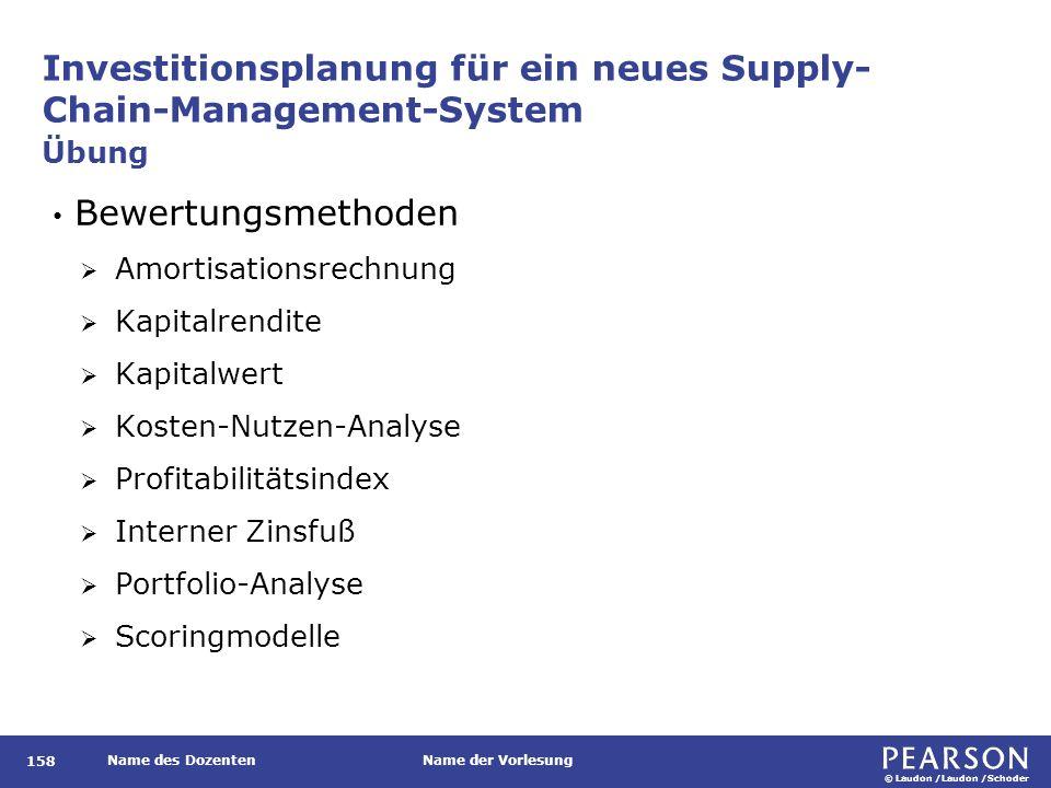© Laudon /Laudon /Schoder Name des DozentenName der Vorlesung Investitionsplanung für ein neues Supply- Chain-Management-System 158 Bewertungsmethoden