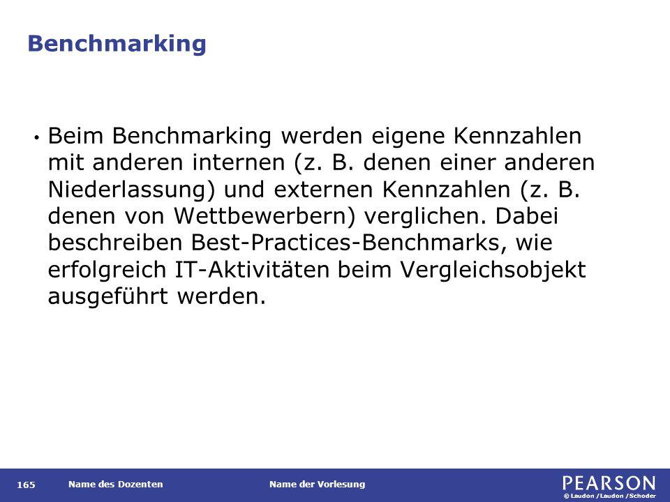 © Laudon /Laudon /Schoder Name des DozentenName der Vorlesung Benchmarking 165 Beim Benchmarking werden eigene Kennzahlen mit anderen internen (z. B.