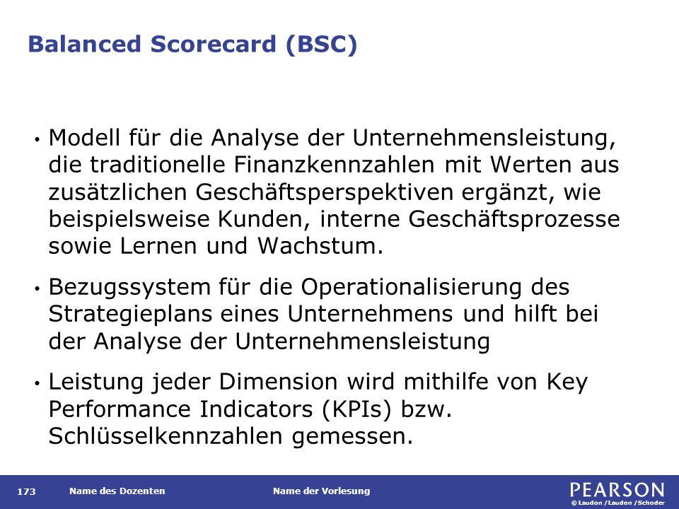 © Laudon /Laudon /Schoder Name des DozentenName der Vorlesung Balanced Scorecard (BSC) 173 Modell für die Analyse der Unternehmensleistung, die tradit