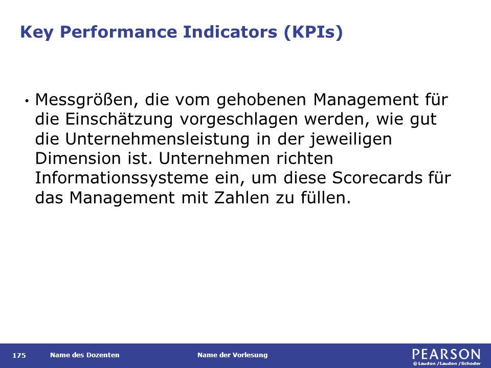 © Laudon /Laudon /Schoder Name des DozentenName der Vorlesung Key Performance Indicators (KPIs) 175 Messgrößen, die vom gehobenen Management für die E