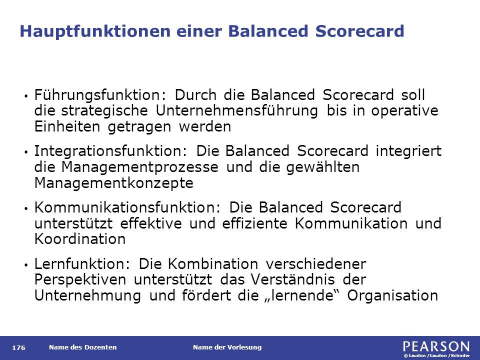 © Laudon /Laudon /Schoder Name des DozentenName der Vorlesung Hauptfunktionen einer Balanced Scorecard 176 Führungsfunktion: Durch die Balanced Scorec