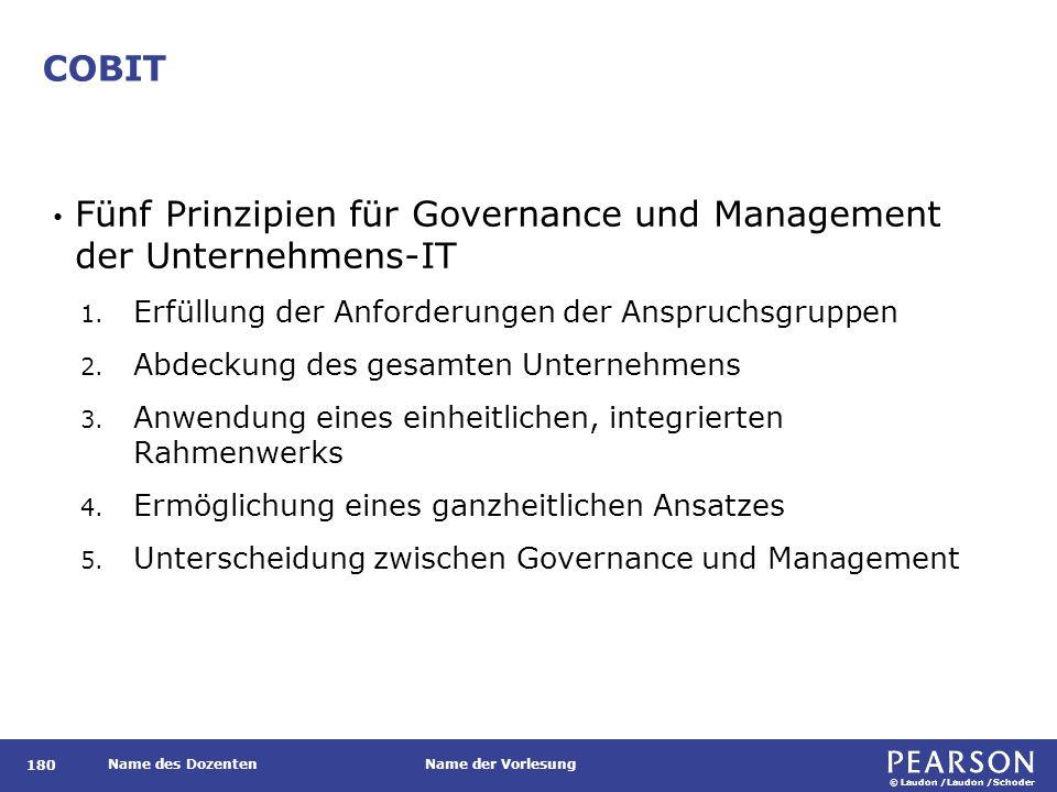 © Laudon /Laudon /Schoder Name des DozentenName der Vorlesung COBIT 180 Fünf Prinzipien für Governance und Management der Unternehmens-IT 1. Erfüllung