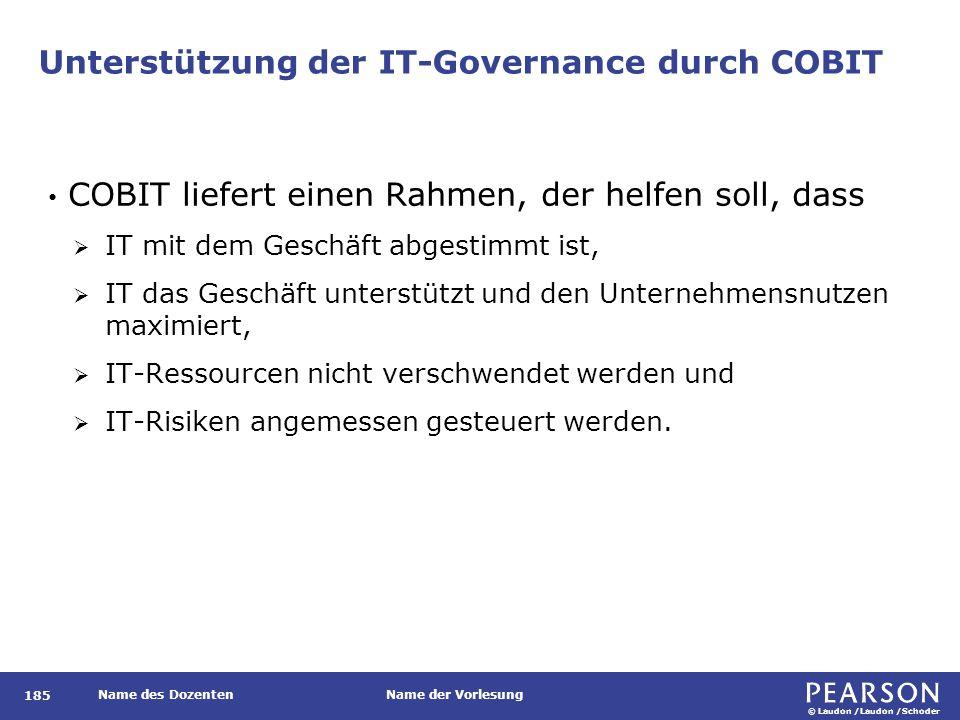 © Laudon /Laudon /Schoder Name des DozentenName der Vorlesung Unterstützung der IT-Governance durch COBIT 185 COBIT liefert einen Rahmen, der helfen s