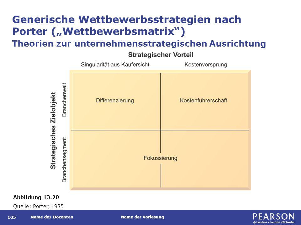 """© Laudon /Laudon /Schoder Name des DozentenName der Vorlesung Generische Wettbewerbsstrategien nach Porter (""""Wettbewerbsmatrix"""") 105 Theorien zur unte"""