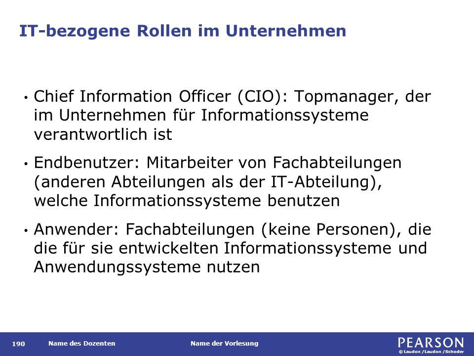 © Laudon /Laudon /Schoder Name des DozentenName der Vorlesung IT-bezogene Rollen im Unternehmen 190 Chief Information Officer (CIO): Topmanager, der i