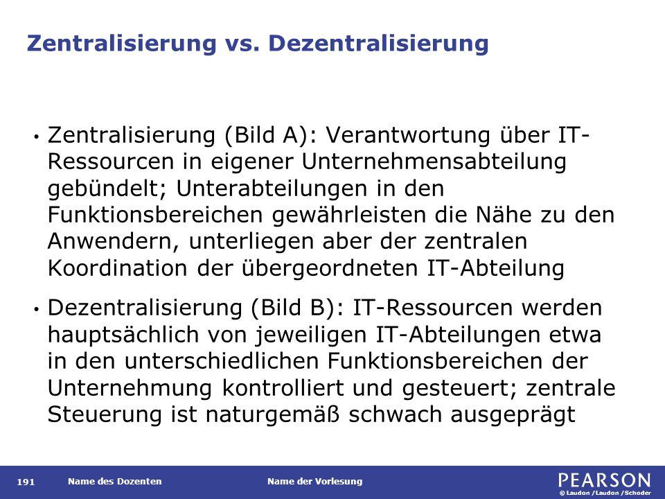 © Laudon /Laudon /Schoder Name des DozentenName der Vorlesung Zentralisierung vs. Dezentralisierung 191 Zentralisierung (Bild A): Verantwortung über I