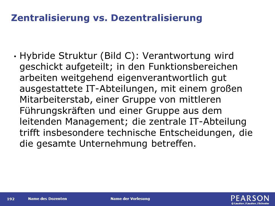 © Laudon /Laudon /Schoder Name des DozentenName der Vorlesung Zentralisierung vs. Dezentralisierung 192 Hybride Struktur (Bild C): Verantwortung wird