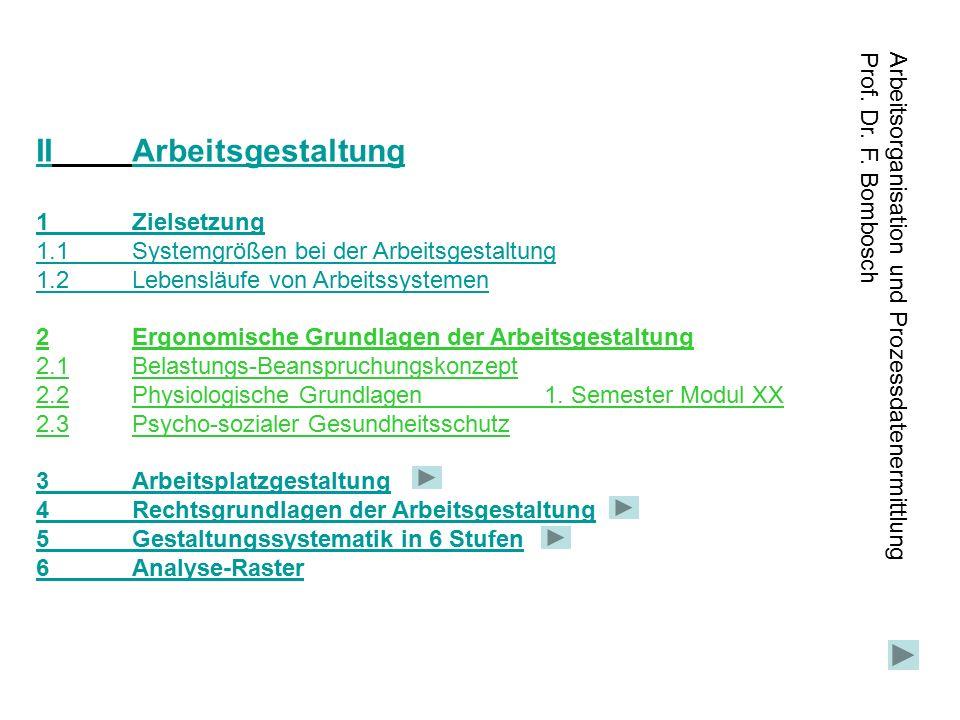 Arbeitsorganisation und Prozessdatenermittlung Prof. Dr. F. Bombosch IIArbeitsgestaltungArbeitsgestaltung 1Zielsetzung 1.1Systemgrößen bei der Arbeits