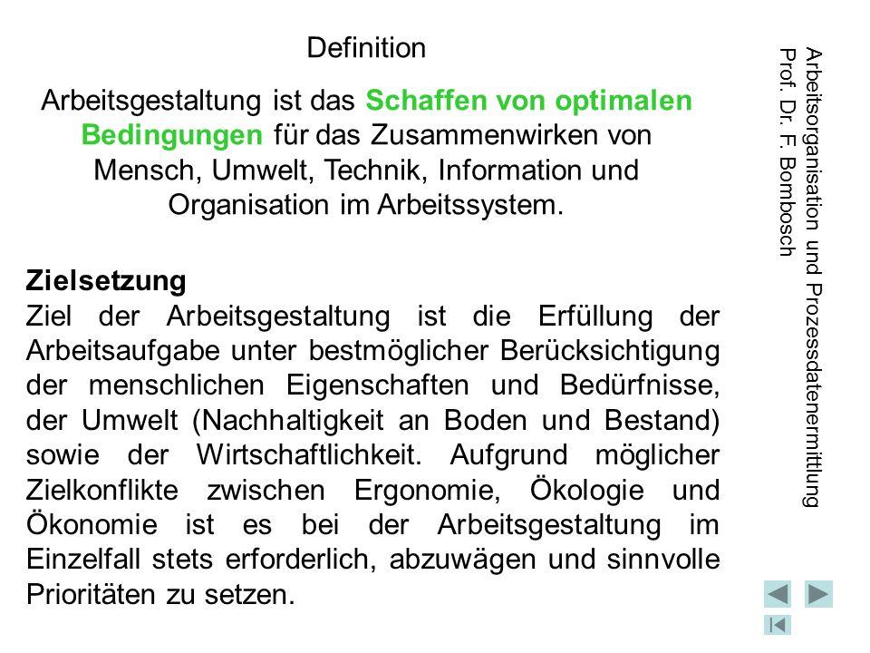 Arbeitsorganisation und Prozessdatenermittlung Prof.