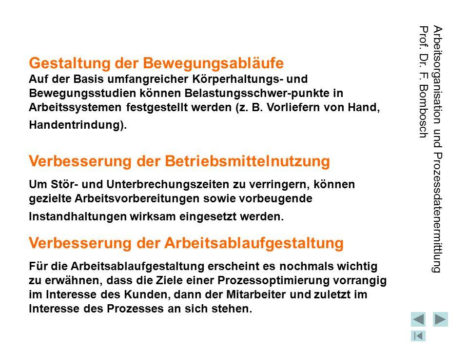 Arbeitsorganisation und Prozessdatenermittlung Prof. Dr. F. Bombosch Gestaltung der Bewegungsabläufe Auf der Basis umfangreicher Körperhaltungs- und B
