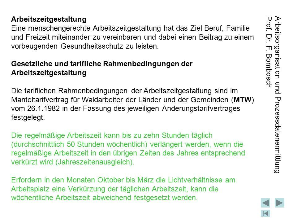 Arbeitsorganisation und Prozessdatenermittlung Prof. Dr. F. Bombosch ENDE