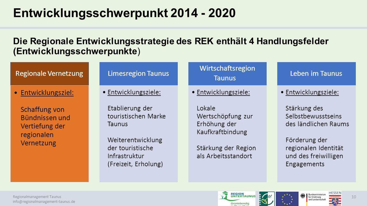 Regionalmanagement Taunus info@regionalmanagement-taunus.de Entwicklungsschwerpunkt 2014 - 2020 Die Regionale Entwicklungsstrategie des REK enthält 4