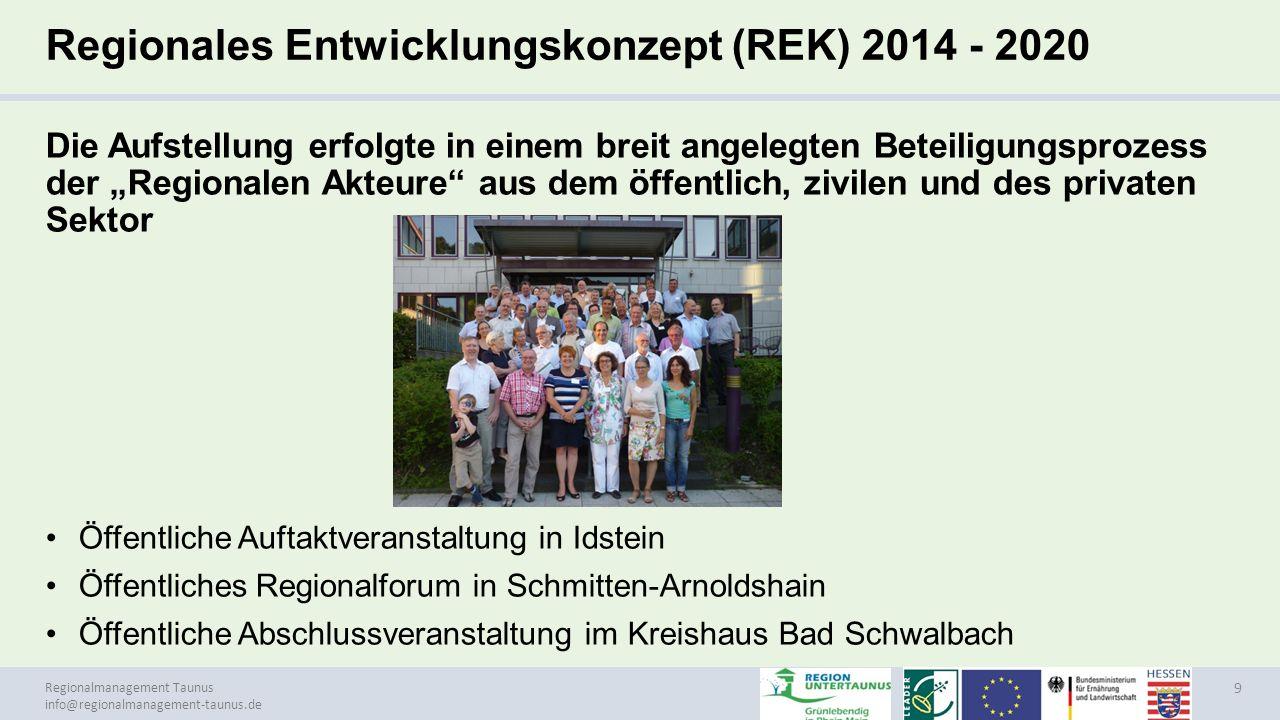 Regionalmanagement Taunus info@regionalmanagement-taunus.de Regionales Entwicklungskonzept (REK) 2014 - 2020 Die Aufstellung erfolgte in einem breit a