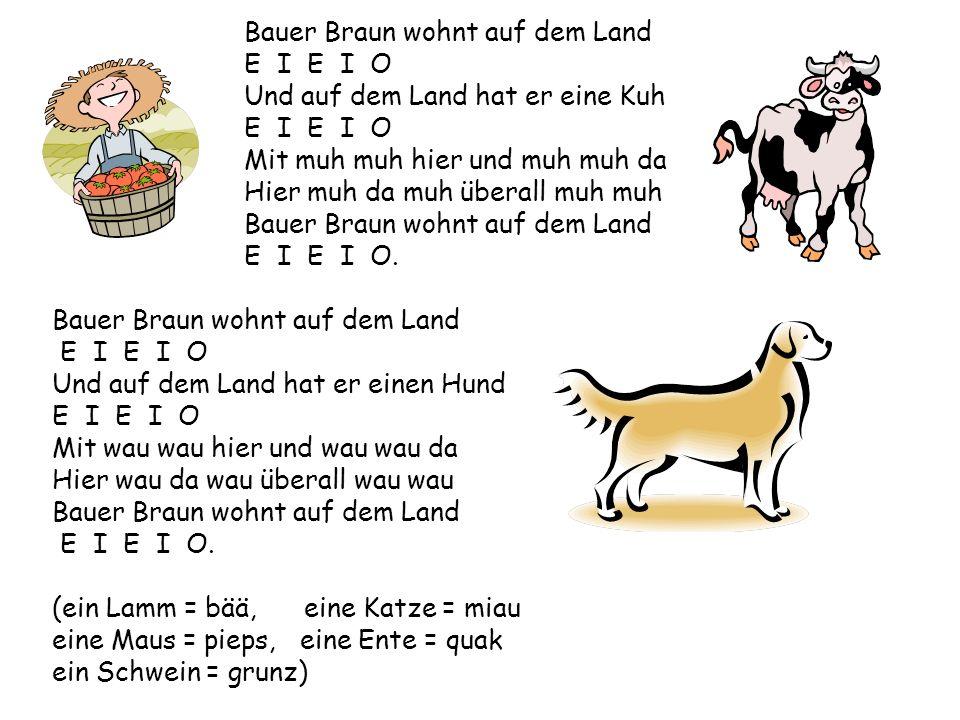 Bauer Braun wohnt auf dem Land E I E I O Und auf dem Land hat er eine Kuh E I E I O Mit muh muh hier und muh muh da Hier muh da muh überall muh muh Bauer Braun wohnt auf dem Land E I E I O.