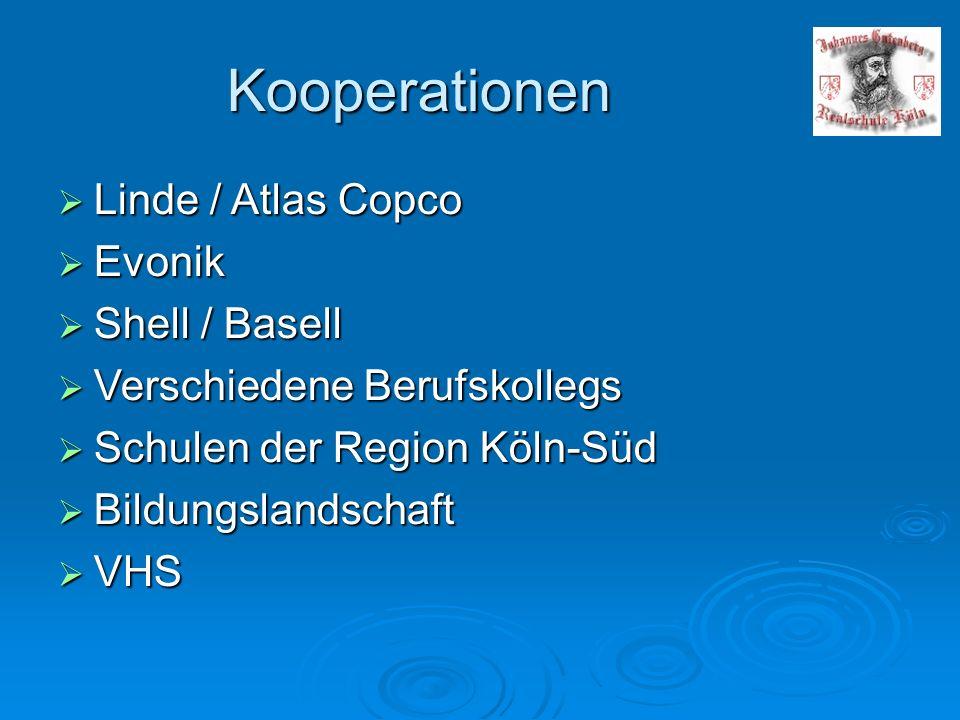 Kooperationen  Linde / Atlas Copco  Evonik  Shell / Basell  Verschiedene Berufskollegs  Schulen der Region Köln-Süd  Bildungslandschaft  VHS