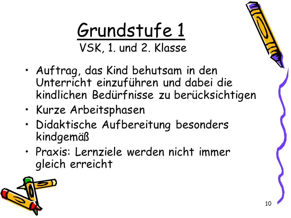 Grundstufe 1 VSK, 1. und 2. Klasse Auftrag, das Kind behutsam in den Unterricht einzuführen und dabei die kindlichen Bedürfnisse zu berücksichtigen Ku