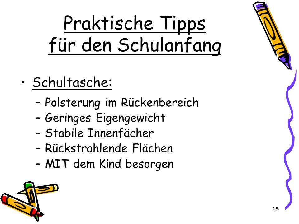 Praktische Tipps für den Schulanfang Schultasche: –Polsterung im Rückenbereich –Geringes Eigengewicht –Stabile Innenfächer –Rückstrahlende Flächen –MI