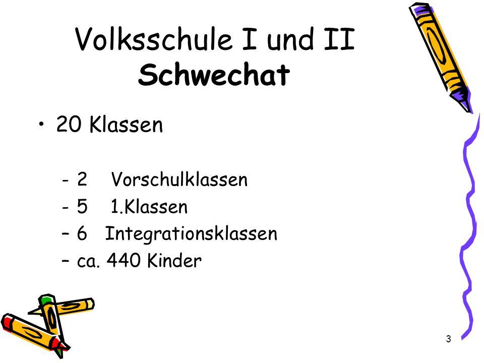 Volksschule I und II Schwechat 20 Klassen -2 Vorschulklassen -5 1.Klassen –6 Integrationsklassen –ca. 440 Kinder 3