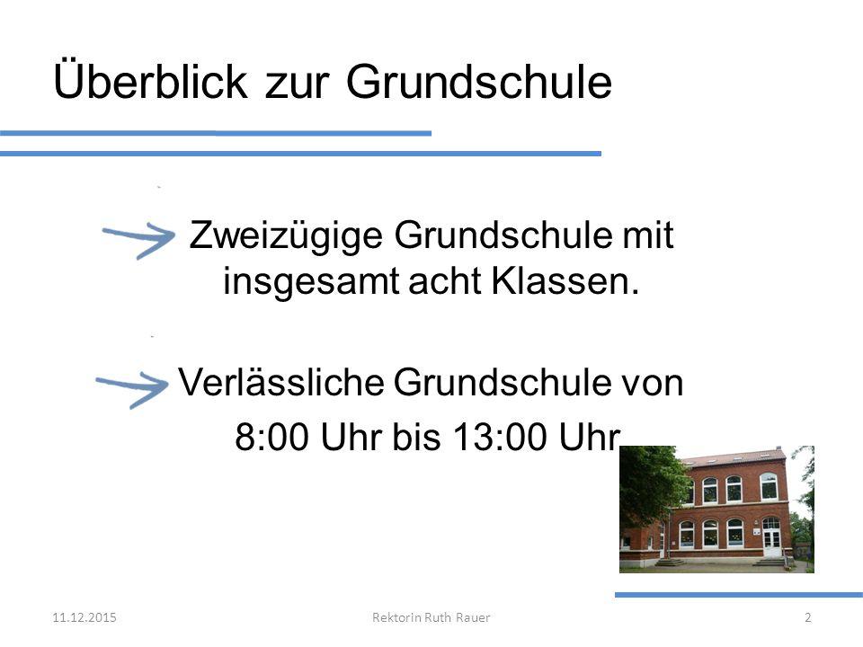 Überblick zur Grundschule Zweizügige Grundschule mit insgesamt acht Klassen. Verlässliche Grundschule von 8:00 Uhr bis 13:00 Uhr. 11.12.2015Rektorin R