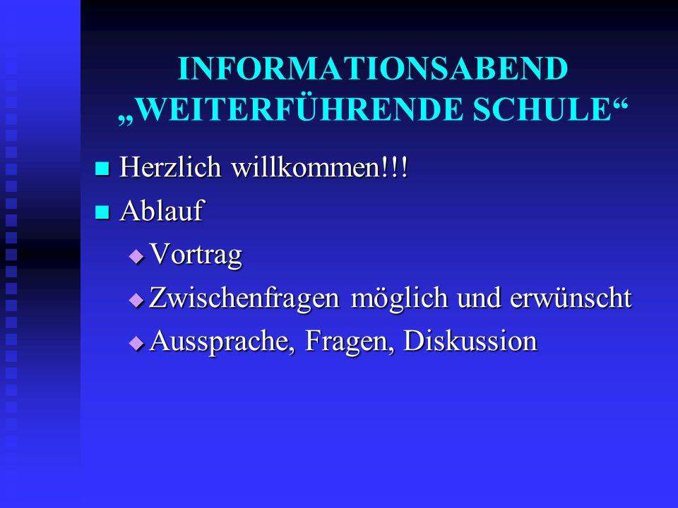 """INFORMATIONSABEND """"WEITERFÜHRENDE SCHULE"""" Herzlich willkommen!!! Herzlich willkommen!!! Ablauf Ablauf  Vortrag  Zwischenfragen möglich und erwünscht"""