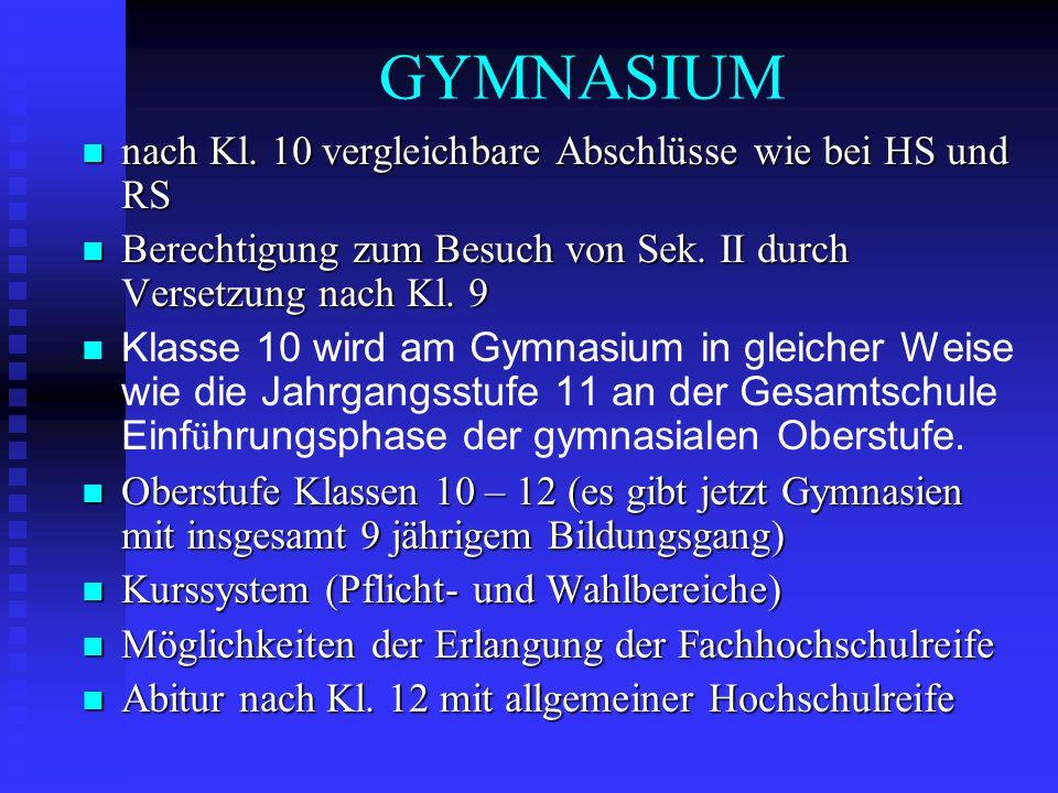 GYMNASIUM nach Kl. 10 vergleichbare Abschlüsse wie bei HS und RS nach Kl. 10 vergleichbare Abschlüsse wie bei HS und RS Berechtigung zum Besuch von Se
