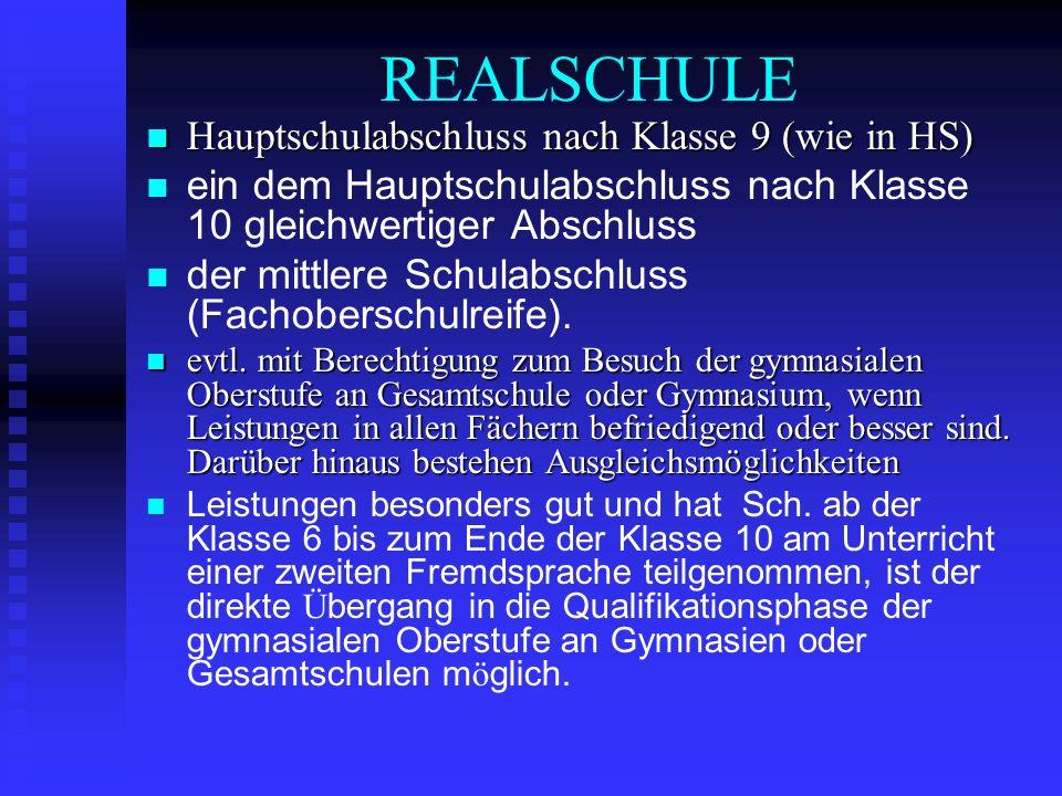 REALSCHULE Hauptschulabschluss nach Klasse 9 (wie in HS) Hauptschulabschluss nach Klasse 9 (wie in HS) ein dem Hauptschulabschluss nach Klasse 10 glei