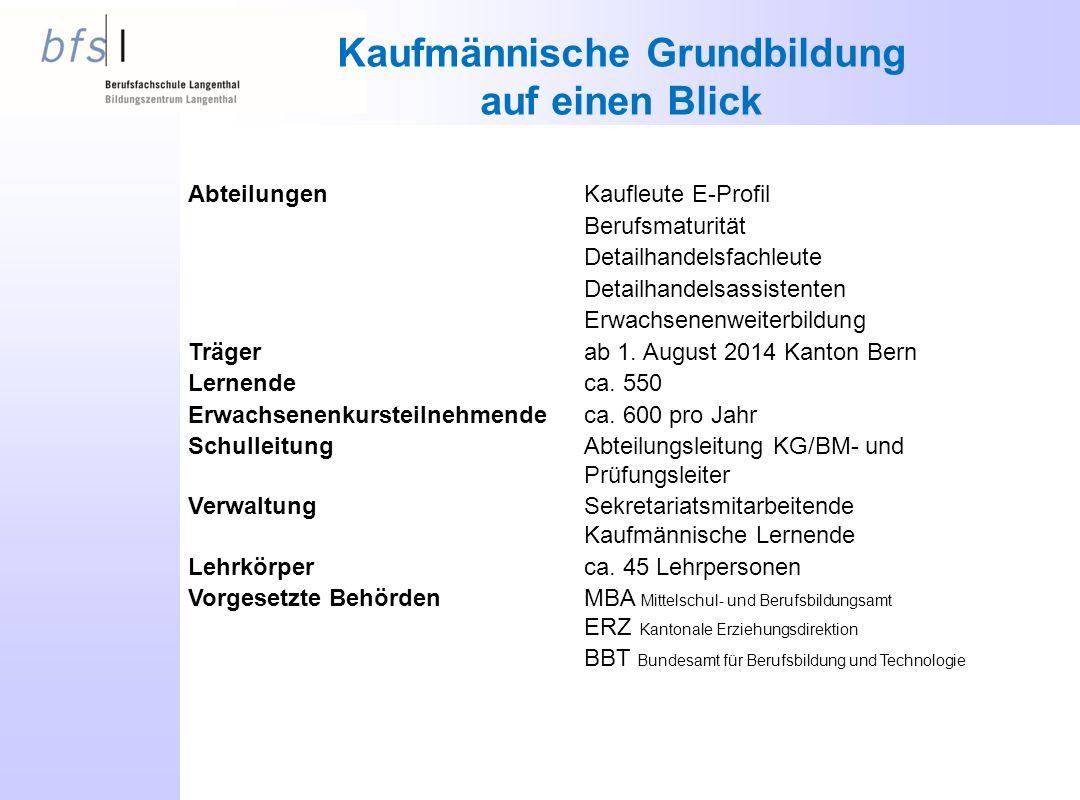 AbteilungenKaufleute E-Profil Berufsmaturität Detailhandelsfachleute Detailhandelsassistenten Erwachsenenweiterbildung Trägerab 1. August 2014 Kanton