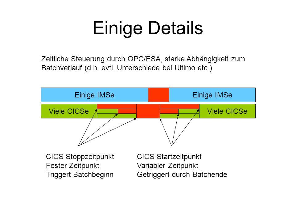 Einige Details Viele CICSe Einige IMSe Viele CICSe CICS Stoppzeitpunkt Fester Zeitpunkt Triggert Batchbeginn CICS Startzeitpunkt Variabler Zeitpunkt Getriggert durch Batchende Zeitliche Steuerung durch OPC/ESA, starke Abhängigkeit zum Batchverlauf (d.h.