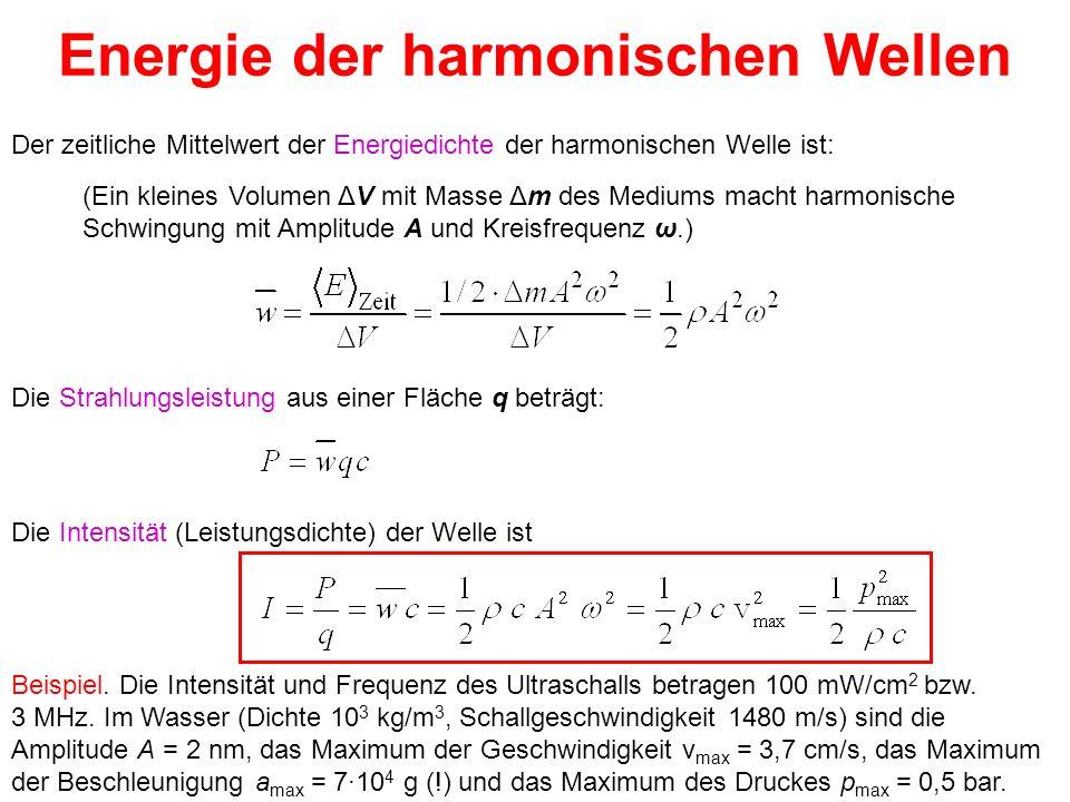 Energie der harmonischen Wellen Der zeitliche Mittelwert der Energiedichte der harmonischen Welle ist: Die Strahlungsleistung aus einer Fläche q beträ
