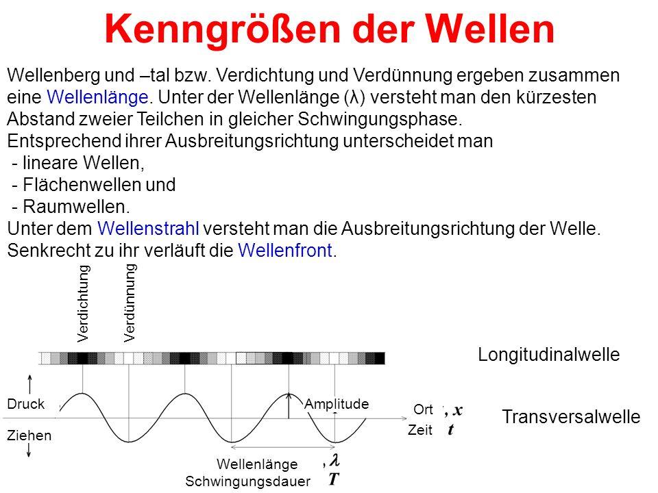 Kenngrößen der Wellen Wellenberg und –tal bzw. Verdichtung und Verdünnung ergeben zusammen eine Wellenlänge. Unter der Wellenlänge (λ) versteht man de