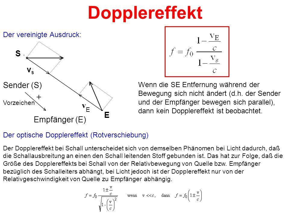 Dopplereffekt Der vereinigte Ausdruck: Wenn die SE Entfernung während der Bewegung sich nicht ändert (d.h. der Sender und der Empfänger bewegen sich p