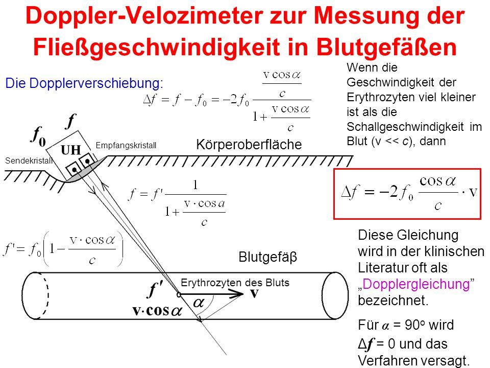 Doppler-Velozimeter zur Messung der Fließgeschwindigkeit in Blutgefäßen Die Dopplerverschiebung: Wenn die Geschwindigkeit der Erythrozyten viel kleine