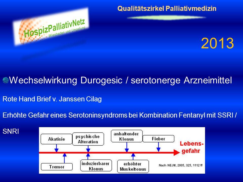 Qualitätszirkel Palliativmedizin 2013 Wechselwirkung Durogesic / serotonerge Arzneimittel Rote Hand Brief v. Janssen Cilag Erhöhte Gefahr eines Seroto