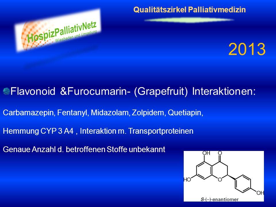 Qualitätszirkel Palliativmedizin 2013 Flavonoid &Furocumarin- (Grapefruit) Interaktionen: Carbamazepin, Fentanyl, Midazolam, Zolpidem, Quetiapin, Hemm