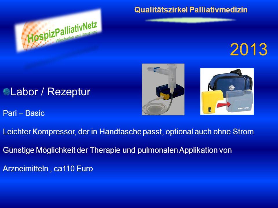 Qualitätszirkel Palliativmedizin 2013 Labor / Rezeptur Pari – Basic Leichter Kompressor, der in Handtasche passt, optional auch ohne Strom Günstige Mö