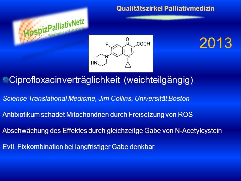 Qualitätszirkel Palliativmedizin 2013 Ciprofloxacinverträglichkeit (weichteilgängig) Science Translational Medicine, Jim Collins, Universität Boston A