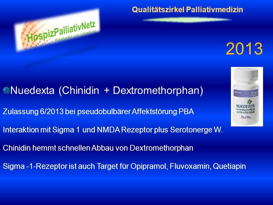 Qualitätszirkel Palliativmedizin 2013 Nuedexta (Chinidin + Dextromethorphan) Zulassung 6/2013 bei pseudobulbärer Affektstörung PBA Interaktion mit Sig