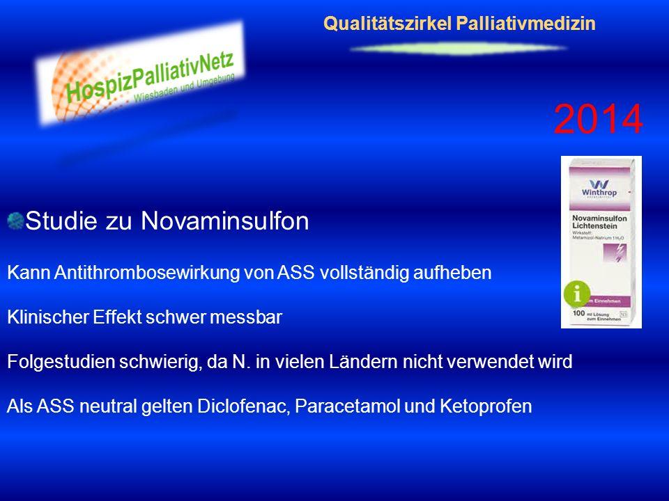 Qualitätszirkel Palliativmedizin 2014 Studie zu Novaminsulfon Kann Antithrombosewirkung von ASS vollständig aufheben Klinischer Effekt schwer messbar