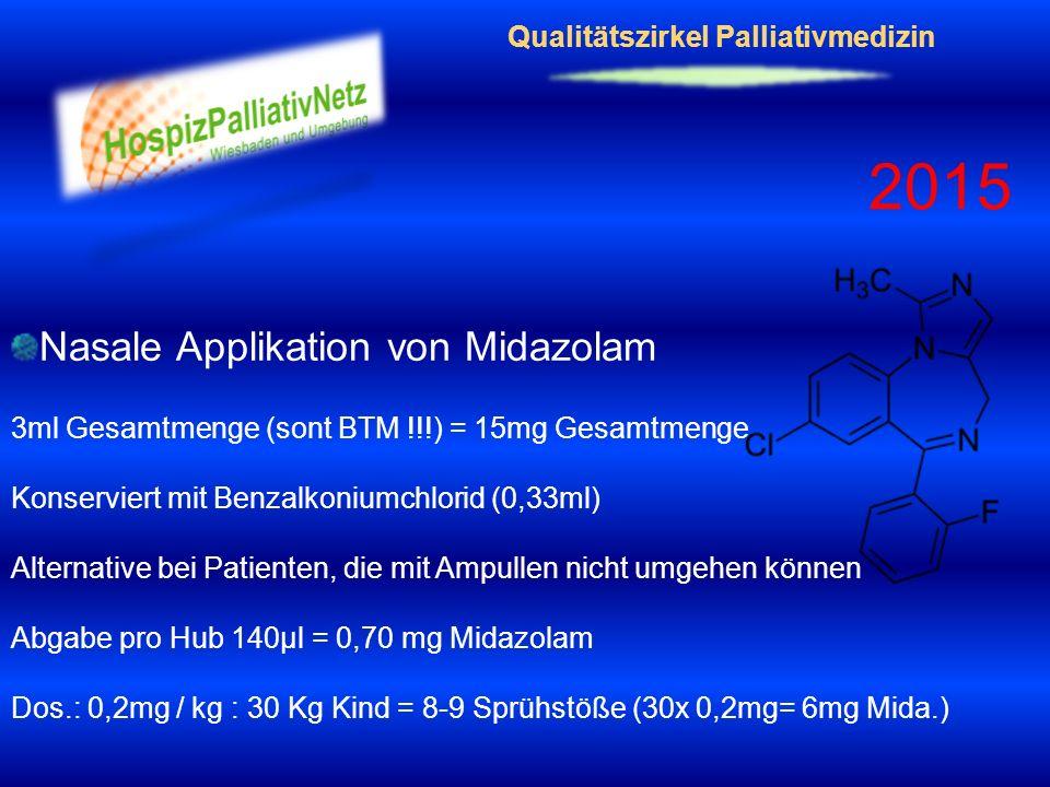 Qualitätszirkel Palliativmedizin 2015 Nasale Applikation von Midazolam 3ml Gesamtmenge (sont BTM !!!) = 15mg Gesamtmenge Konserviert mit Benzalkoniumc