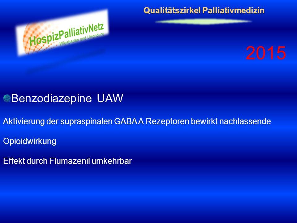 Qualitätszirkel Palliativmedizin 2015 Benzodiazepine UAW Aktivierung der supraspinalen GABA A Rezeptoren bewirkt nachlassende Opioidwirkung Effekt dur