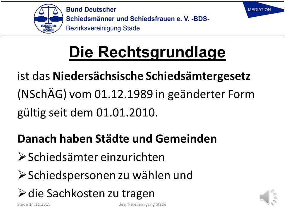 Länder ohne Schiedsämter  Bayern  Baden-Württemberg  Bremen  Hamburg Stade 14.11.2015Bezirksvereinigung Stade