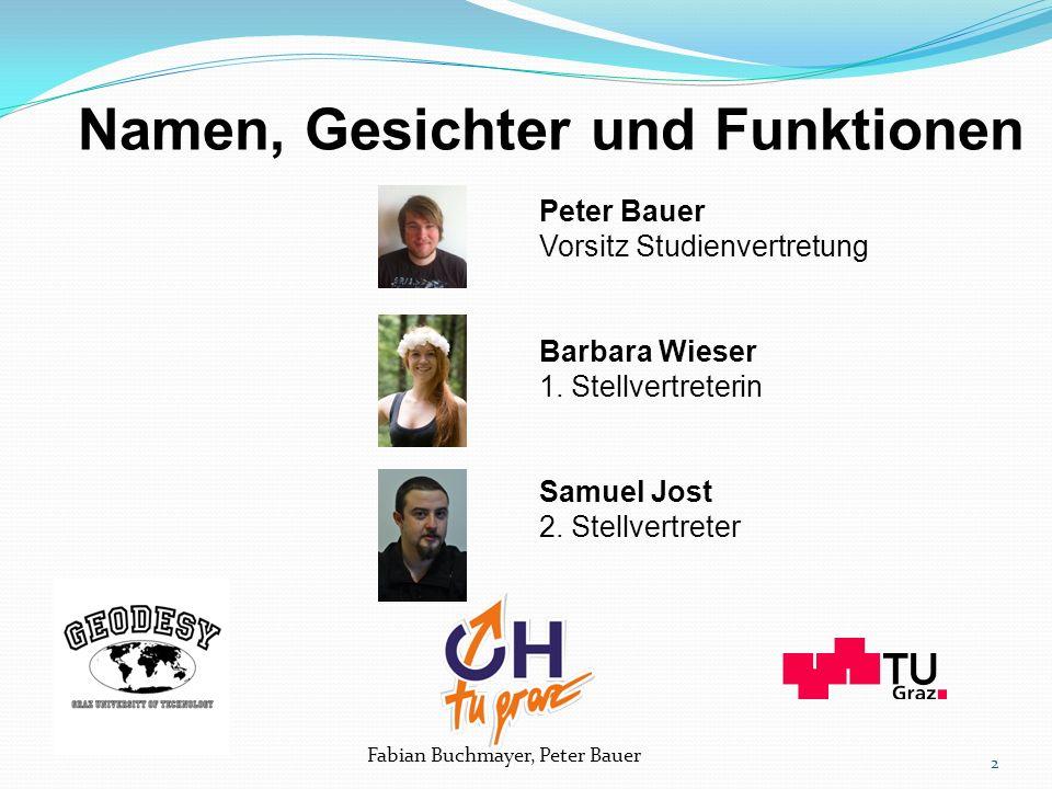Namen, Gesichter und Funktionen Peter Bauer Vorsitz Studienvertretung Barbara Wieser 1.