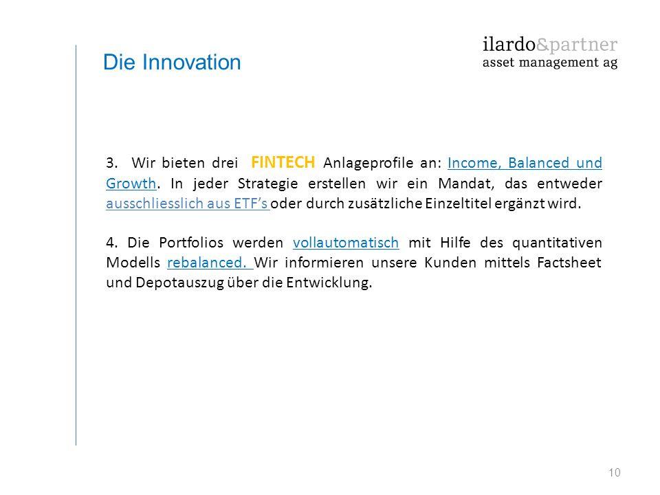 10 Die Innovation 3. Wir bieten drei FINTECH Anlageprofile an: Income, Balanced und Growth. In jeder Strategie erstellen wir ein Mandat, das entweder