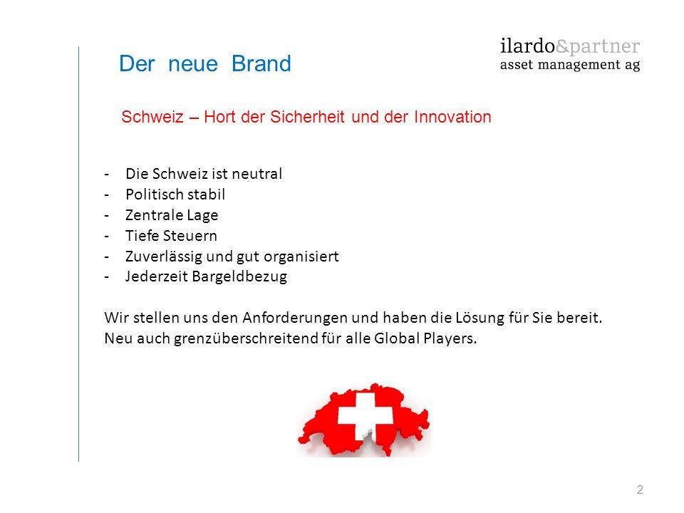 2 Der neue Brand -Die Schweiz ist neutral -Politisch stabil -Zentrale Lage -Tiefe Steuern -Zuverlässig und gut organisiert -Jederzeit Bargeldbezug Wir