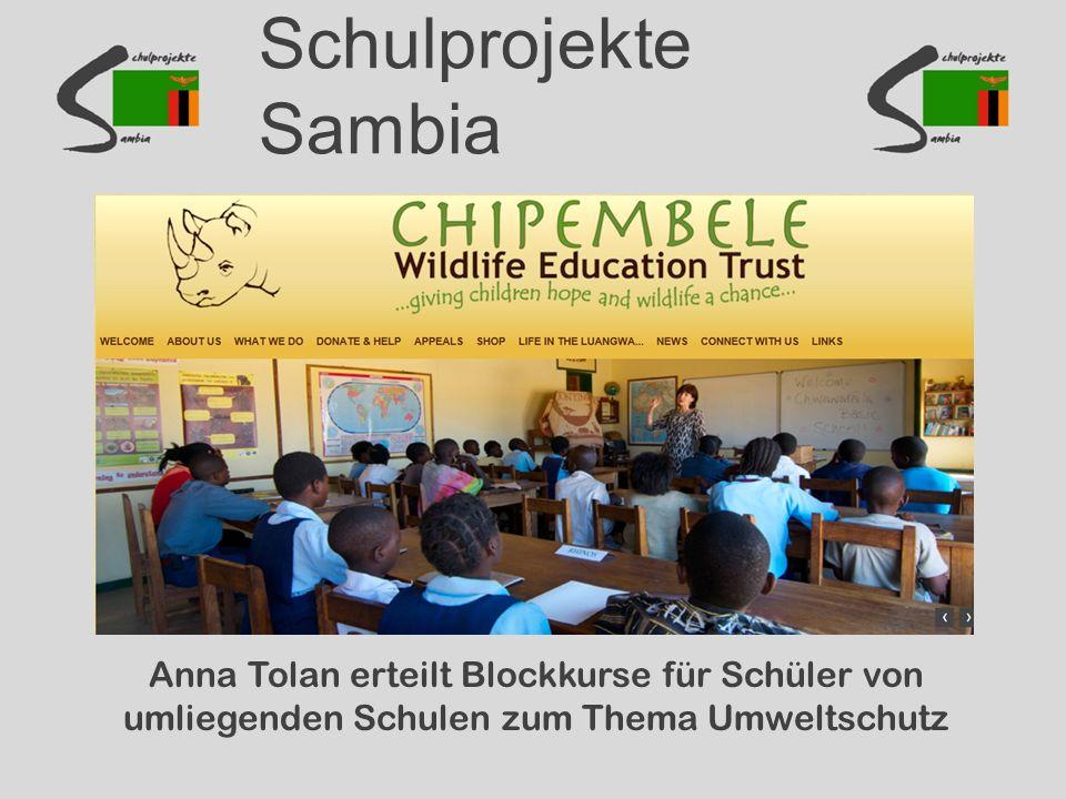 Schulprojekte Sambia Anna Tolan erteilt Blockkurse für Schüler von umliegenden Schulen zum Thema Umweltschutz