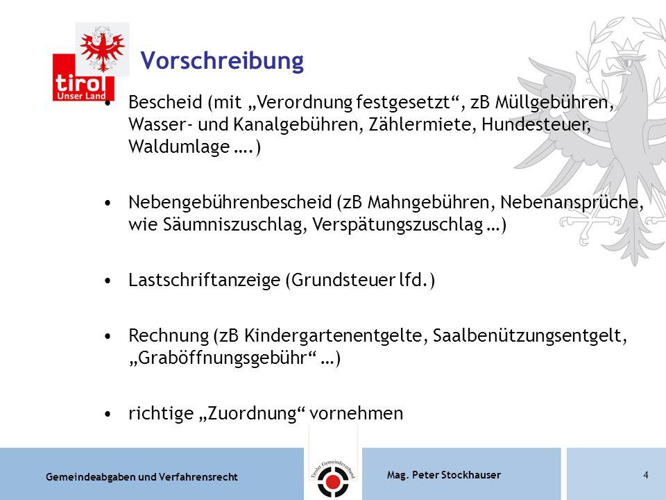 """Gemeindeabgaben und Verfahrensrecht Mag. Peter Stockhauser4 Vorschreibung Bescheid (mit """"Verordnung festgesetzt"""", zB Müllgebühren, Wasser- und Kanalge"""