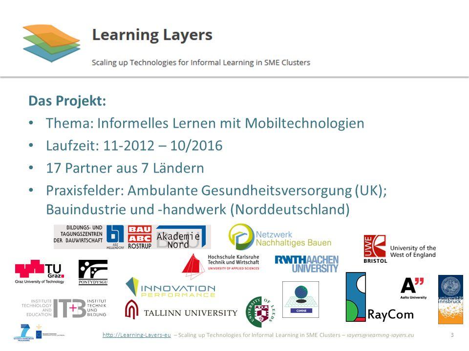 http://Learning-Layers-euhttp://Learning-Layers-eu – Scaling up Technologies for Informal Learning in SME Clusters – layers@learning-layers.eu Idee: Learning Toolbox (LTB) Learning Toolbox ermöglicht die Zusammenstellung und Verwendung flexibler, kontextbezogener Sets von Kacheln, die dynamisch mit -Tools, Apps -Online services -Inhalten -Personen, Gruppen verbinden.